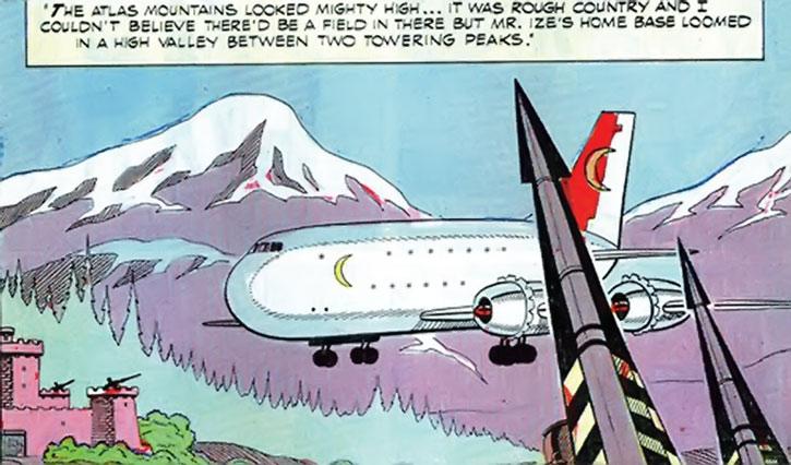 Mister Ize's plane lands in his Atlas base