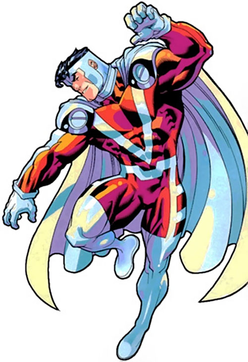 Mister Majestic of the WildCATs (Wildstorm Comics) flying and smiling