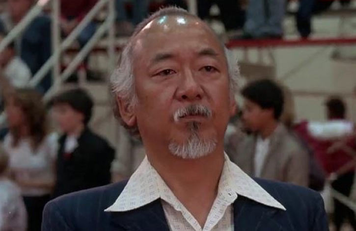 Mister Miyagi - Pat Morita in Karate Kid - face closeup with wide collar shirt