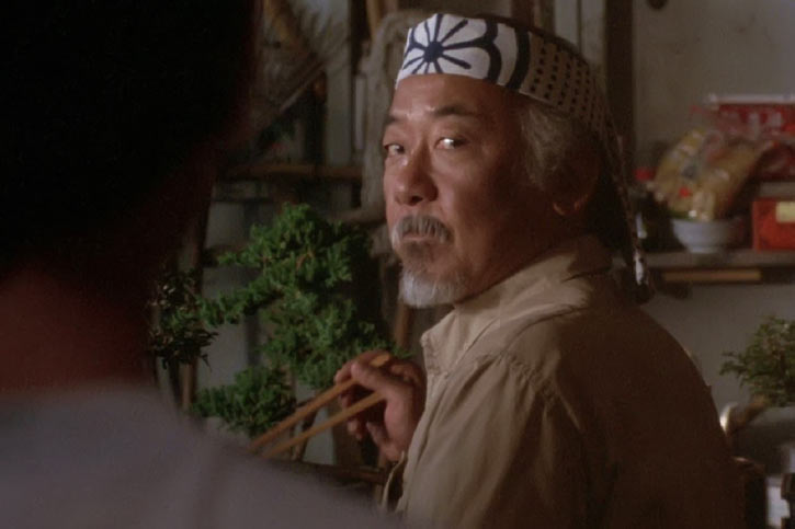 Mister Miyagi - Pat Morita in Karate Kid - with white print headband