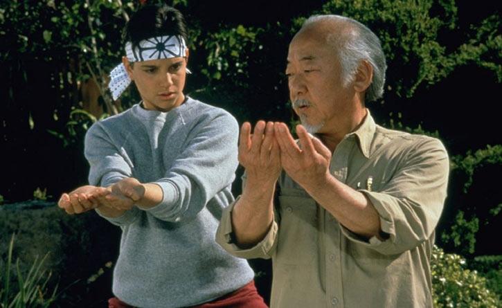 Mister Miyagi - Pat Morita in Karate Kid - training Daniel