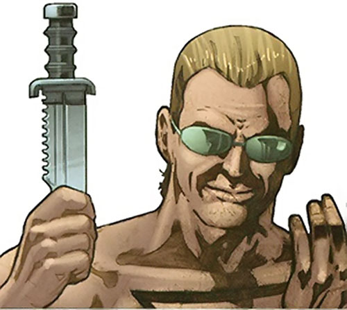 Mister X (Wolverine / Thunderbolts character) (Marvel Comics) face closeup with knife