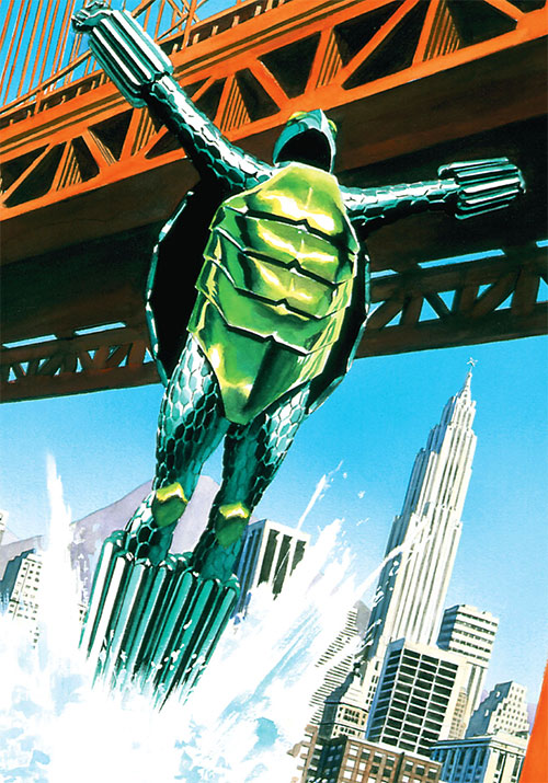 Mock Turtle (Astro City comics) erupting from water