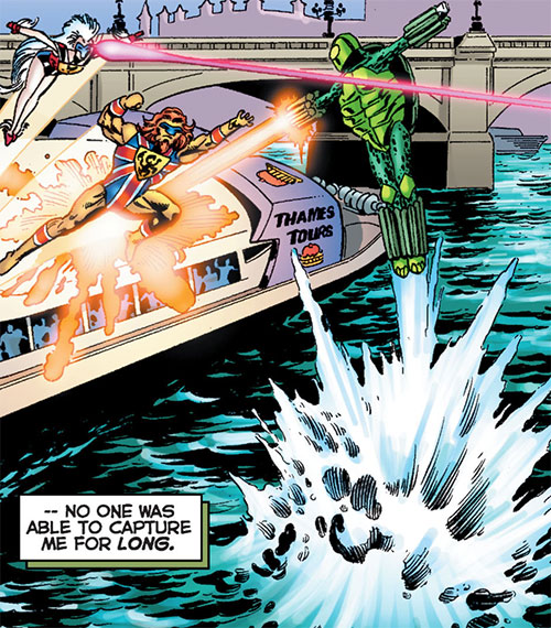 Mock Turtle (Astro City comics) fighting two British heroes