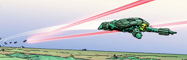 The Mock Turtle flying under fire