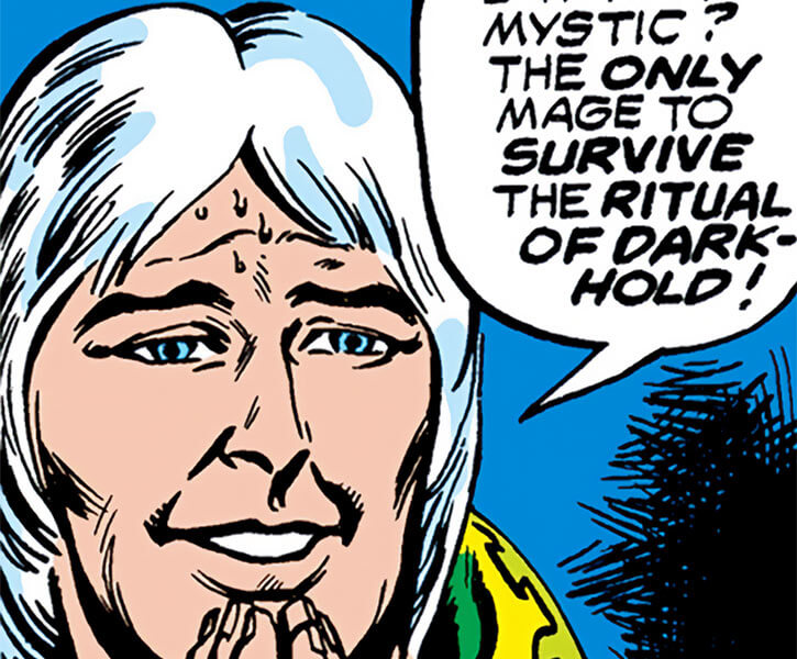 Modred the Mystic (Marvel Comics) (Earliest appearances) smiling face closeup