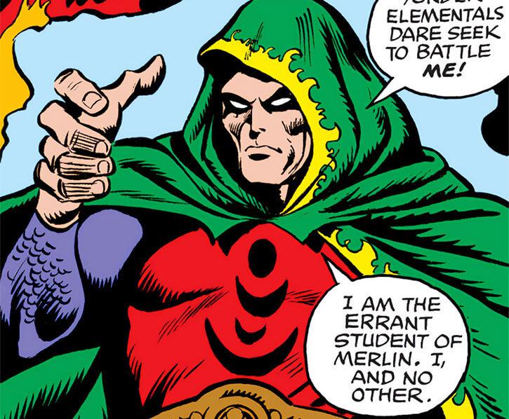 Modred the Mystic (Marvel Comics) (Earliest appearances) levitating over fire