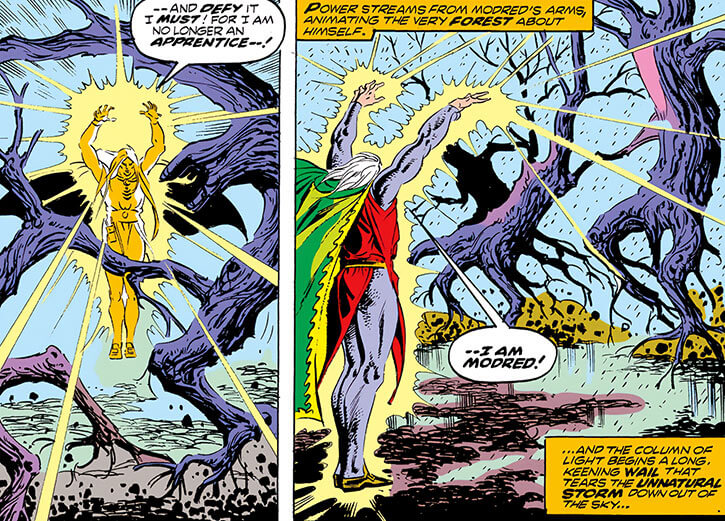 Modred the Mystic (Marvel Comics) (Earliest appearances) animating trees using magic