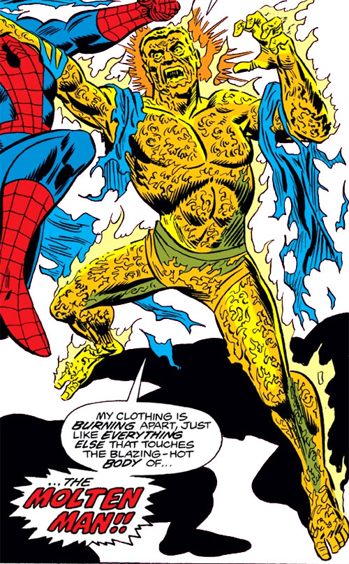 Molten Man (Spider-Man character) in his melting state