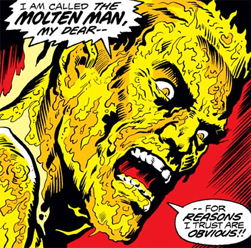 Molten Man (Spider-Man character) face closeup in molten state