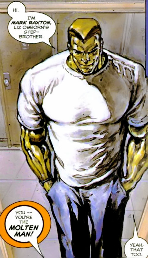 Molten Man (Spider-Man character) in jeans and a T-shirt