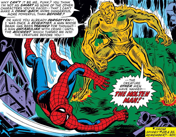 The Molten Man (Mark Raxton) and a stunned Spider-Man
