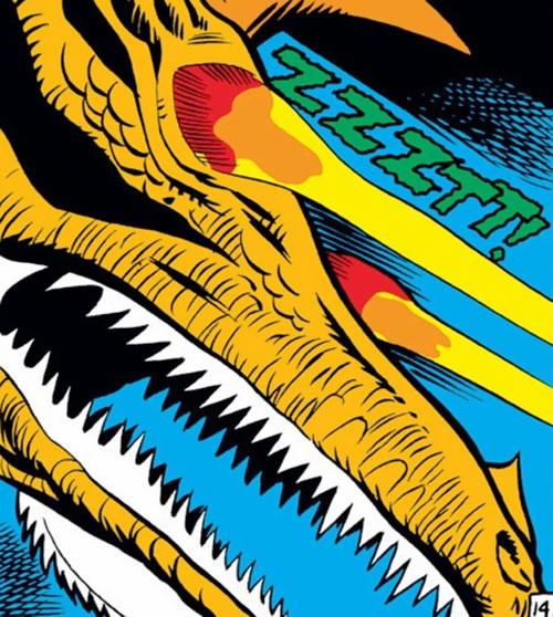Zoga the robot dragon (Iron Man enemy) (Marvel Comics) shooting eye beams