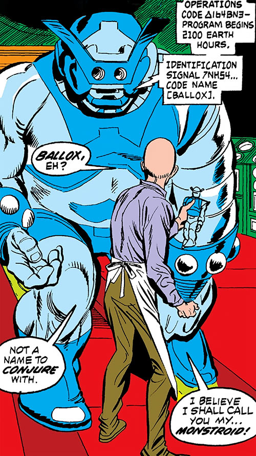 Monstroid aka Ballox (Marvel Comics) in blue, and the Puppet Master