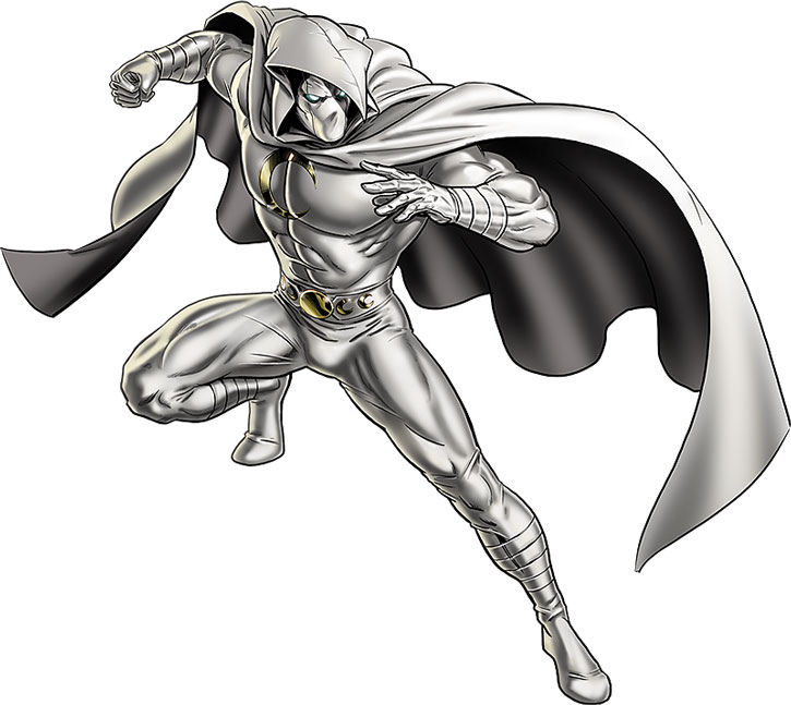 Moon Knight posing on a white background