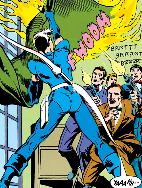 Moonbow (Firestorm character) (DC Comics) trying to evade gunmen with a burning curtain