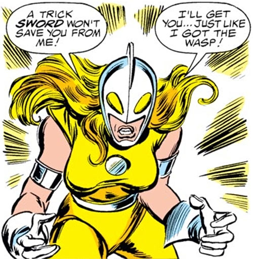 Moonstone (Avengers enemy classic) (Marvel Comics) fights angry