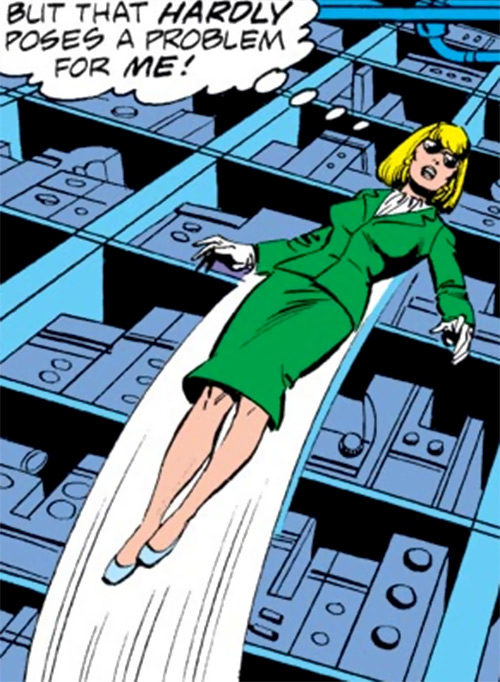 Moonstone (Avengers enemy classic) (Marvel Comics) flying in a teal suit