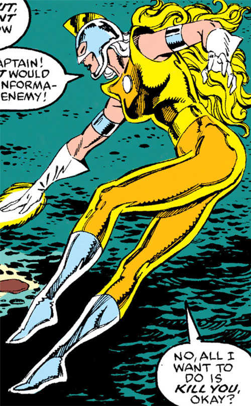 Moonstone (Avengers enemy classic) (Marvel Comics) hovering over the ocean