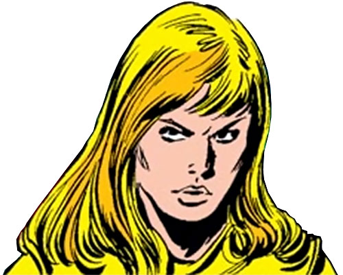 Moonstone (Avengers enemy classic) (Marvel Comics) face closeup with her helmet