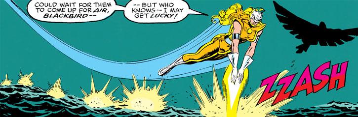 Moonstone (Karla Sofen) strafing over water