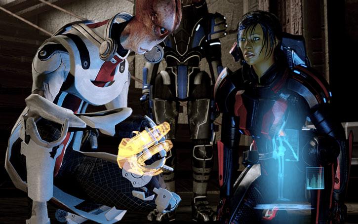 Mordin Solus examines medical data for Commander Shepard