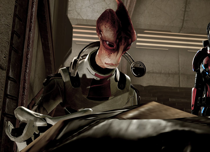 Mordin Solus examines a corpse