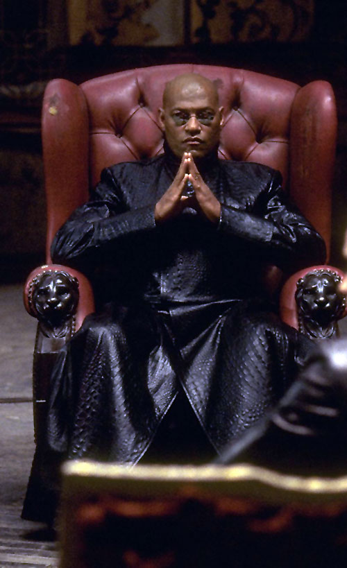 Morpheus (Laurence Fishburne) in his red leather chair