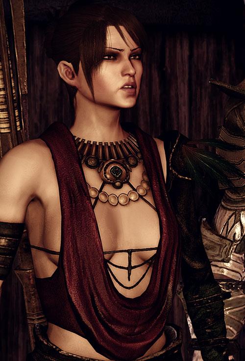 Morrigan (Dragon Age: Origins) sneering