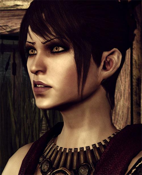 Morrigan (Dragon Age: Origins) scowling face closeup