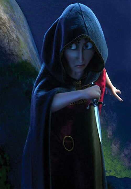 Mother Gothel (Disney's Tangled movie) with a cloak and a dagger