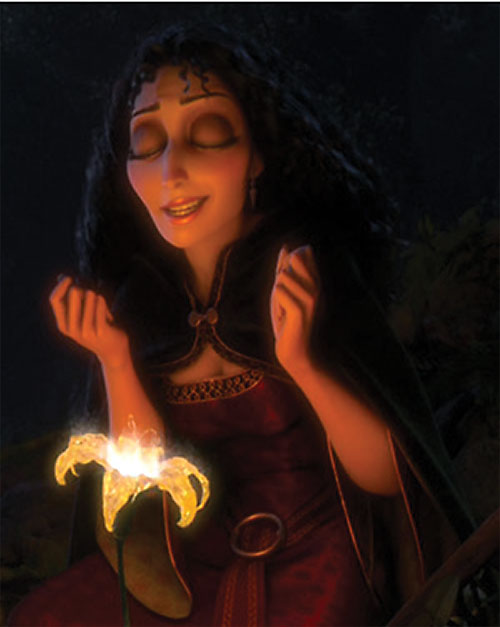 Mother Gothel (Disney's Tangled movie) and a magical flower