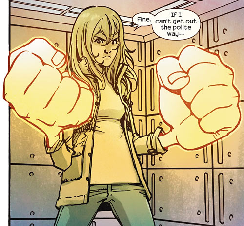 Ms. Marvel comics (Kamala Khan) giant glowing fists in cell
