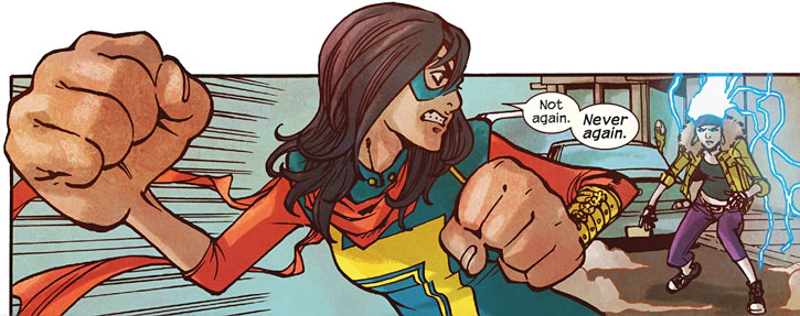 Ms. Marvel comics (Kamala Khan) about to punch with a giant fist