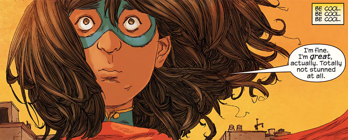Ms. Marvel comics (Kamala Khan) stunned face closeup
