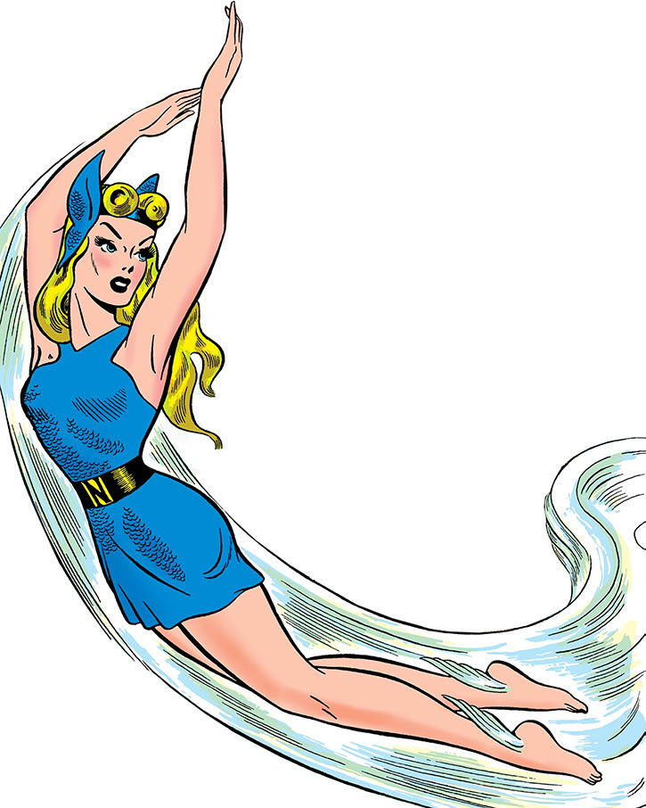 Golden Age Namora swimming on a white background