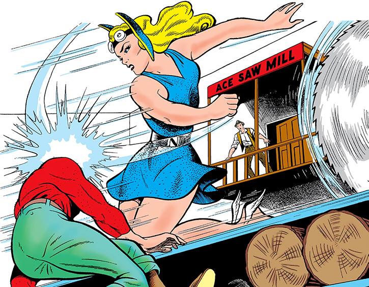 The Golden Age Namora battling thugs at a sawmill
