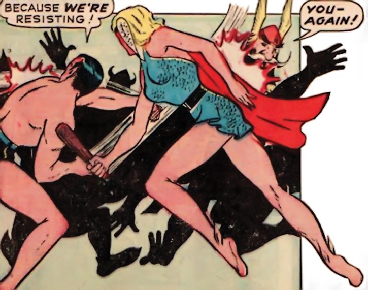 Golden Age Namora hitting the Viking with a small club