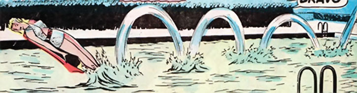 Golden Age Namora in an acrobatic swimming demonstration