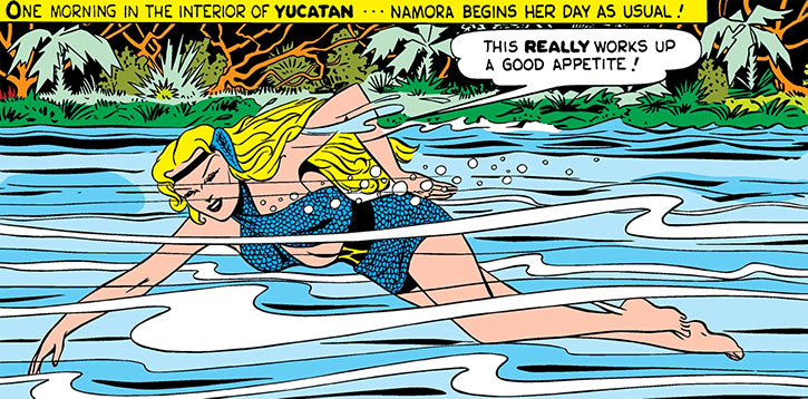 Namora swimming up a river during the Golden Age
