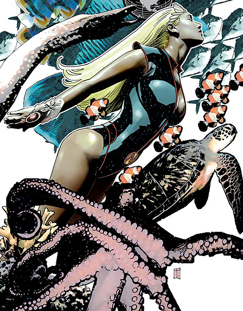Namora of the Agents of Atlas (Marvel Comics) swimming with sea life