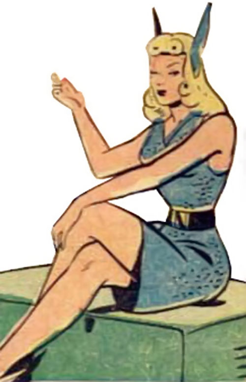 Namora (Golden Age Marvel Timely Comics) sitting and talking