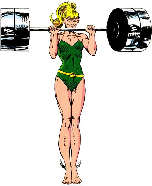 Namorita of the New Warriors (Classic era) (Marvel Comics) lifting weights