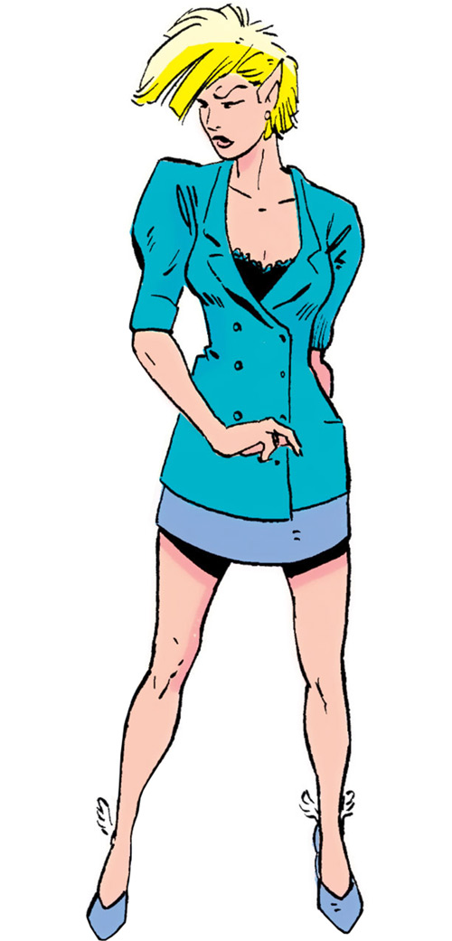 Namorita of the New Warriors (Classic era) (Marvel Comics) purple and teal business suit