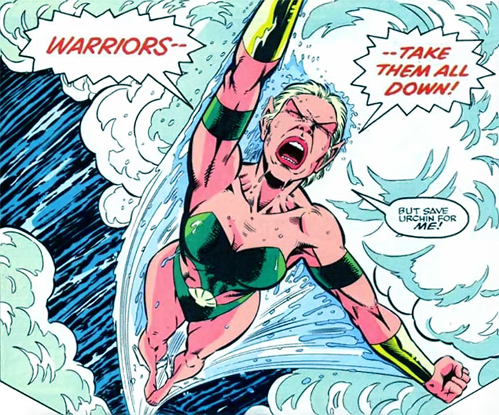 Namorita of the New Warriors (Classic era) (Marvel Comics) yelling and flying out of water