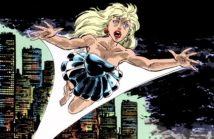 Namorita of the New Warriors (Classic era) (Marvel Comics) black gown flying at night skyline