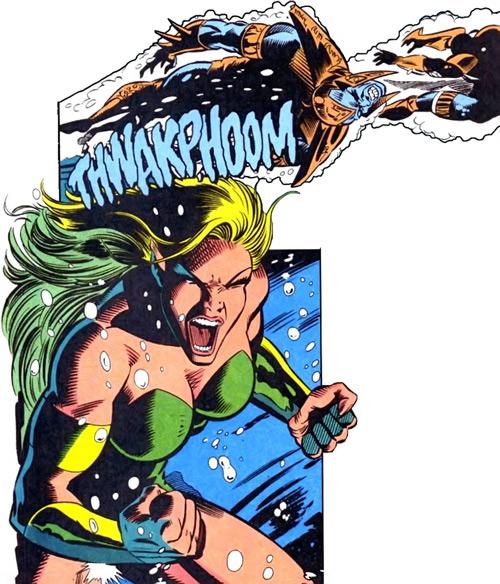 Namorita of the New Warriors (Classic era) (Marvel Comics) punching Atlanteans underwater