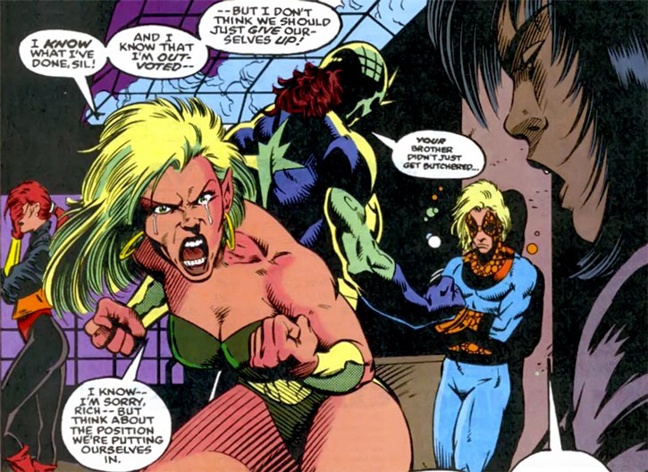 Namorita (Marvel Comics) with the New Warriors, crying (Poisoned Memories story arc)