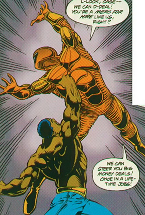Nautilus (Spider-Man enemy) (Marvel Comics) getting punched by Cage