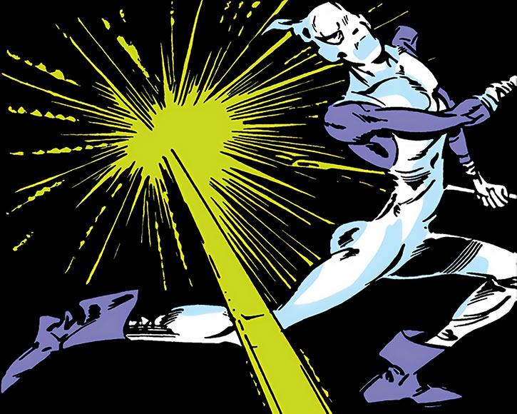 The Needle dodges Spider-Woman's blast